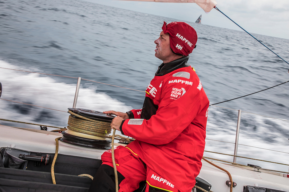 Leg 6 to Auckland, day 02 on board MAPFRE. Robb Greenhalgh at one of the winches. 08 February, 2018.