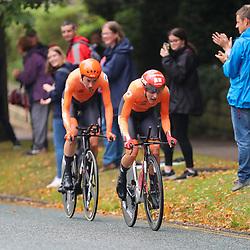 22-09-2019: WK wielrennen: Team Relay: Yorkshire<br />Nederland is in Harrogate Wereldkampioen op de Team Relay geworden. Een tijdrit voor mannen en vrouwen. Bij de vrouwen reden Lucinda Brand, Riejanne MArkus en Amy Pieters