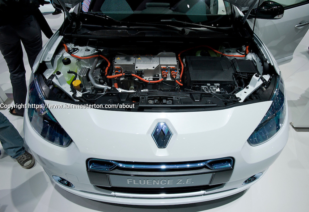 Detail of Renault Fluence ZE electric car at Paris Motor Show 2010