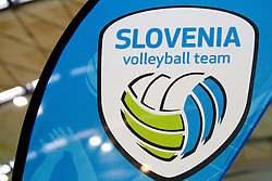 Logo of Slovenia volleyball team during volleyball match between National Teams of Slovenia and Belgium of 2011 CEV Volleyball European League Men - Pool A, on July 9, 2011, in  Arena Ljudski vrt Lukna, Maribor, Slovenia. Slovenia defeated Belgium 3-1. (Photo by Vid Ponikvar / Sportida)