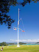 View of the flagpole at Waitangi Treaty Grounds, near Paihia, New Zealand.