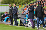 Exeter City manager Paul Tisdale and Forest Green Rovers manager, Mark Cooper during the EFL Sky Bet League 2 match between Forest Green Rovers and Exeter City at the New Lawn, Forest Green, United Kingdom on 9 September 2017. Photo by Shane Healey.