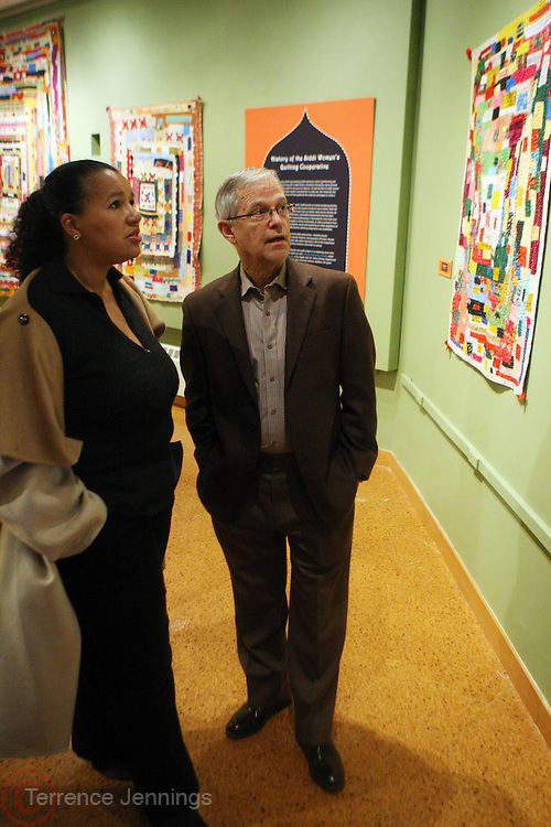 31 January 2011-New York, NY- l to r: Elinor Tatum and Dr. Henry J. Drewal at The Schomburg Center's Opening of Soulful Stitching and Harlem Views: Diasporian Visions Exhibitions held at the Schomburg Center for Research in Black Culture on January 31, 2011 in Harlem, New York City. Photo credit: Terrence Jennings