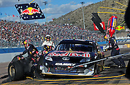 Feb 27, 2011; Avondale, AZ, USA; NASCAR Sprint Cup Series driver Kasey Kahne comes in for a pit stop during the Subway Fresh Fit 500 at Phoenix International Raceway. Mandatory Credit: Jennifer Stewart-US PRESSWIRE
