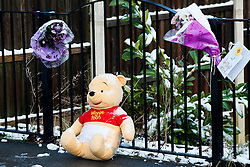 Floral Trubutes outside the house on Beck Road where a Three Year old girl was taken from to Sheffield Childrens Hosptial on Friday (8th feb). The girl lated died around 12:20am Saturday morning (9 Feb).A 30-year-old man charged with murder of three-year-old girl from Beck Road Shiregreen, Sheffield..11 February 2013.Image © Paul David Drabble