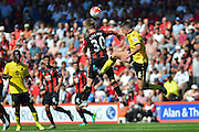 AFC Bournemouth's Matt Ritchie and Aston Villa's Ciaran Clark during the Barclays Premier League match between Bournemouth and Aston Villa at the Goldsands Stadium, Bournemouth, England on 8 August 2015. Photo by Mark Davies.