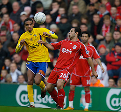 LIVERPOOL, ENGLAND - Saturday, January 26, 2008: Liverpool's Javier Mascherano and Havant and Waterlooville's Rocky Baptiste during the FA Cup 4th Round match at Anfield. (Photo by David Rawcliffe/Propaganda)