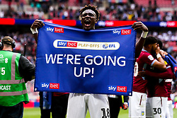 Tammy Abraham of Aston Villa celebrates winning promotion from the Sky Bet Championship to the Premier League after winning the Sky Bet Playoff Final - Mandatory by-line: Robbie Stephenson/JMP - 27/05/2019 - FOOTBALL - Wembley Stadium - London, England - Aston Villa v Derby County - Sky Bet Championship Play-off Final