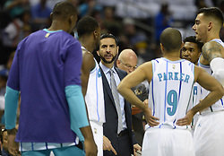 October 17, 2018 - Charlotte, NC, USA - Charlotte Hornets head coach James Borrego talks to his team during a timeout against the Milwaukee Bucks during the first half at the Spectrum Center in Charlotte, N.C., on Wednesday, Oct. 17, 2018. (Credit Image: © David T. Foster Iii/Charlotte Observer/TNS via ZUMA Wire)