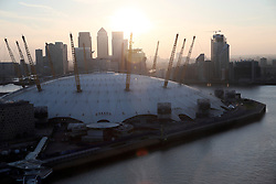 UK ENGLAND LONDON 20APR15 - Sunset over the skyline in the Docklands, London, seen from the Emirates Air Line cable car.<br /> <br /> <br /> <br /> jre/Photo by Jiri Rezac<br /> <br /> <br /> <br /> © Jiri Rezac 2015