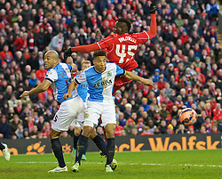 LIVERPOOL, ENGLAND - Sunday, March 8, 2015: Liverpool's Mario Balotelli in action against Blackburn Rovers during the FA Cup 6th Round Quarter-Final match at Anfield. (Pic by David Rawcliffe/Propaganda)