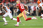 San Francisco 49ers running back Matt Breida (22) runs during an NFL football game against the Cleveland Browns, Monday, Oct. 7, 2019, in Santa Clara, Calif. The 49ers defeated the Browns (Peter Klein/Image of Sport)