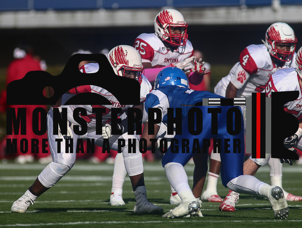 Smyrna Defensive linemen Jerren Carter (77) during the DIAA division one Football Championship game between Top-seeded Middletown (11-0) and second-seeded Smyrna (11-0) Saturday, Dec. 03, 2016 at Delaware Stadium in Newark.