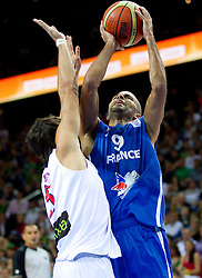 Rudy Fernandez of Spain vs Tony Parker of France during final basketball game between National basketball teams of Spain and France at FIBA Europe Eurobasket Lithuania 2011, on September 18, 2011, in Arena Zalgirio, Kaunas, Lithuania. (Photo by Vid Ponikvar / Sportida)