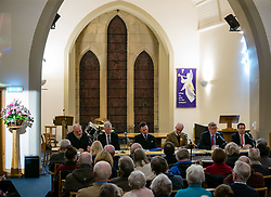 North Berwick, East Lothian, Scotland, United Kingdom, 28 November 2019. General Election: First hustings for the 5 candidates seeking election as MP for East Lothian with questions from the audience ranging from Defence to Honesty. Pictured (L to R): David Sisson, UKIP candidate, former Justice Secretary Kenny MacAskill, Scottish National Party (SNP) candidate, Keith Stewart, QC & chair of the event, Robert O'Riordan, Scottish Liberal Democrats candidate, sitting MP Martin Whitfield, Scottish Labour Party candidate, Haddington and Lammermuir ward councillor Craig Hoy, Scottish Conservative & Unionist Party candidate.  Sally Anderson | EdinburghElitemedia.co.uk
