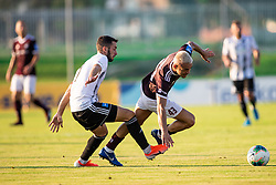 Alen Kozar of Mura vs David Tijanić of Triglav during football match between NK Triglav and NS Mura in 5th Round of Prva liga Telekom Slovenije 2019/20, on August 10, 2019 in Sports park, Kranj, Slovenia. Photo by Vid Ponikvar / Sportida
