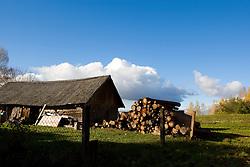 A stack of wood near a shed near Sigulda, Latvia