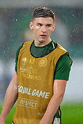 Kieran Tierney (#63) of Celtic FC warming up before the Europa League group stage match between Celtic and RP Leipzig at Celtic Park, Glasgow, Scotland on 8 November 2018.