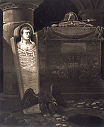 Napoleon I (1769-1821):  Coffin and tomb. Lithograph.