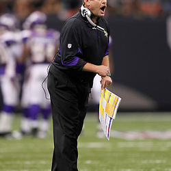 September 9, 2010; New Orleans, LA, USA;  Minnesota Vikings head coach Brad Childress reacts after an extra point was blocked by the New Orleans Saints during first half of the NFL Kickoff season opener at the Louisiana Superdome. Mandatory Credit: Derick E. Hingle