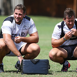 DURBAN, SOUTH AFRICA, Friday 15, January 2016 - Thomas du Toit  with Stefan Ungerer during The Cell C Sharks Pre Season training Friday 145h January 2016,for the 2016 Super Rugby Season at Growthpoint Kings Park in Durban, South Africa. (Photo by Steve Haag)<br /> images for social media must have consent from Steve Haag