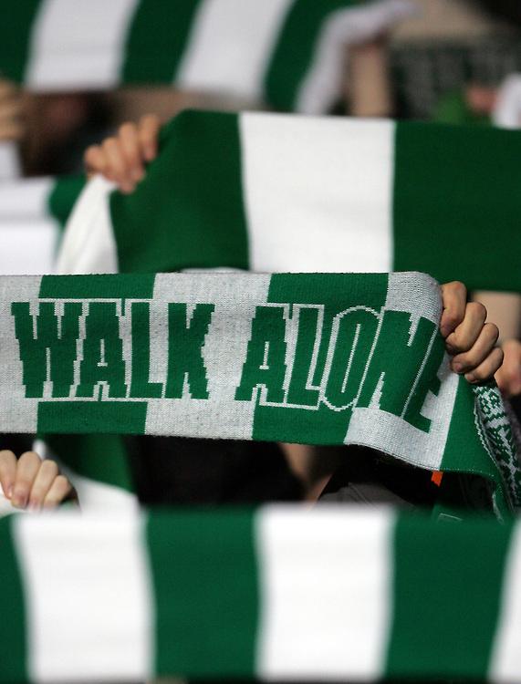"Celtic fans sing ""You'll never walk alone"" Celtic v Barcelona, Uefa Champions League, Knockout phase, Celtic Park, Glasgow, Scotland. 20th February 2008."