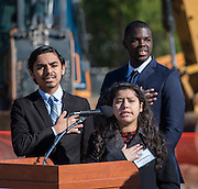 Jacob Garcia and Giselle Guevera lead the Pledge during a groundbreaking ceremony for the new Energy Institute High School, November 19, 2016.