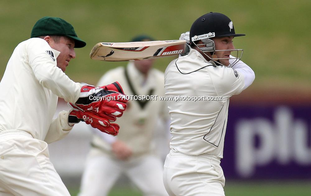 New Zealand batsman Brendon McCullum batting.<br />Test Match Cricket. 1st test. Day 4.<br />New Zealand Black Caps versus Australia. Basin Reserve, Wellington, New Zealand. Monday 22 March 2010. <br />Photo: Andrew Cornaga/PHOTOSPORT