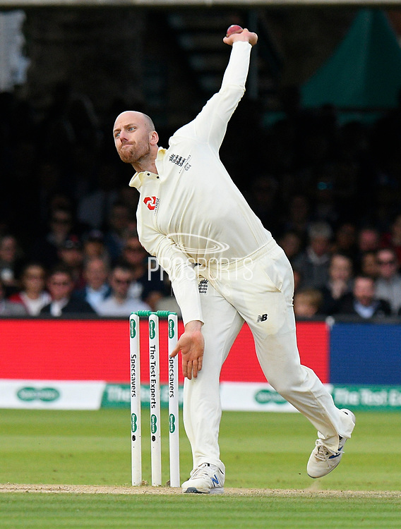 Jack Leach of England bowling during the International Test Match 2019 match between England and Australia at Lord's Cricket Ground, St John's Wood, United Kingdom on 18 August 2019.