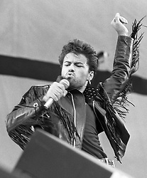 George Michael at Wembley Stadium for the Wham! sell-out farewell concert.