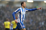 Brighton & Hove Albion centre forward Glenn Murray (17) scores a goal 4-1 and celebrates during the EFL Sky Bet Championship match between Brighton and Hove Albion and Burton Albion at the American Express Community Stadium, Brighton and Hove, England on 11 February 2017.