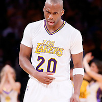 09 March 2014: Los Angeles Lakers shooting guard Jodie Meeks (20) reacts during the Los Angeles Lakers 114-110 victory over the Oklahoma City Thunder at the Staples Center, Los Angeles, California, USA.