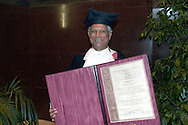 Roma July 8 2008..Bangladeshi banker and 2006 Nobel peace prize laureate Muhammad Yunus poses with a giant diploma after receiving a Doctor Honoris Causa title from Sapienza University in Rome.