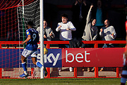 Goal, fans celebrate Harry Smith of Macclesfield Town goal during the EFL Sky Bet League 2 match between Crawley Town and Macclesfield Town at The People's Pension Stadium, Crawley, England on 23 February 2019.