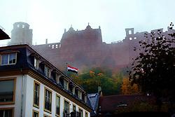 Heidelberg Castle in the fog.