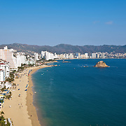 View of Acapulco bay from hotel balcony. Guerrero,Mexico.