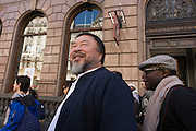 "Chinese artist Ai Weiwei and Anish Kapoor walk with a following entourage of supporters and media through central London - from the Royal Academy in Piccadilly to the former Olympic Park Stratford, eight-miles to show solidarity with refugees around the world. ""It is an act of solidarity and minimal action – we like that spirit,"" said Kapoor. Ai, who has a show at the Royal Academy opening to the public on Saturday, said ""We are all refugees somehow, somewhere and at some moment."""