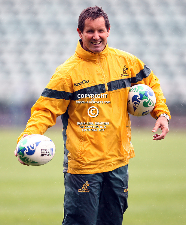 Robbie Deans Head Coach of the Qantas Wallabies during the Team training - Australia,Wednesday 12 October 2011 Australia training session. North Harbour Stadium Stadium Drive Albany, Auckland.<br />  Photographer Steve Haag
