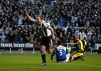 Photo: Andrew Unwin.<br /> Newcastle United v Portsmouth. The Barclays Premiership. 04/02/2006.<br /> Newcastle's Alan Shearer celebrates scoring his 201st club goal.