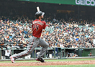 April 11, 2018 - San Francisco, CA, U.S. - SAN FRANCISCO, CA - APRIL 11:Arizona Diamondbacks First base Paul Goldschmidt (44) tracks his home run before rounding the bases during the game between the Arizona Diamondbacks and the San Francisco Giants on Wednesday, April 11, 2018 at AT&T Park in San Francisco, CA (Photo by Douglas Stringer/Icon Sportswire) (Credit Image: © Douglas Stringer/Icon SMI via ZUMA Press)