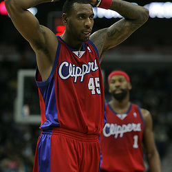 Jan 13, 2010; New Orleans, LA, USA; Los Angeles Clippers guard Rasual Butler (45) reacts as he walks off the court during the second half against the New Orleans Hornets at the New Orleans Arena. The Hornets defeated the Clippers 108-94. Mandatory Credit: Derick E. Hingle-US PRESSWIRE