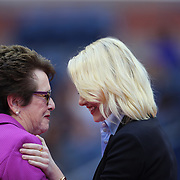 2017 U.S. Open Tennis Tournament - DAY THIRTEEN.  Billie Jean King and Emma Stone at the Women's Final opening ceremony before the match between Sloane Stephens of the United States and Madison Keys of the United States during the Women's Singles Final at the US Open Tennis Tournament at the USTA Billie Jean King National Tennis Center on September 09, 2017 in Flushing, Queens, New York City.  (Photo by Tim Clayton/Corbis via Getty Images)