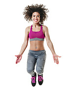 one mixed race woman zumba dancer dancing fitness exercises isolated on white background