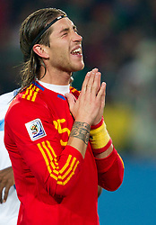 Sergio Ramos of Spain during the 2010 FIFA World Cup South Africa Group H Second Round match between Spain and Honduras on June 21, 2010 at Ellis Park Stadium, Johannesburg, South Africa.   (Photo by Vid Ponikvar / Sportida)
