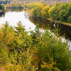 A view of the Merrimack River from the top of sandy bluffs in Canterbury, New Hampshrie.  Fall.