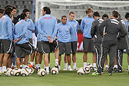CAPE TOWN, SOUTH AFRICA - 10 JUNE 2010, The Uruguay team listin to instructions before training  during the Uruguay training session held at the Cape Town Stadium. Uruguay play France in their opening game on Friday 11 June 2010. Photo by: Shaun Roy/Sportzpics
