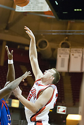 02 December 2006: Levi Dyer with half a hook. In a non-conference game, the Mavericks of University of Texas at Arlington lost to the Redbirds home 86-61. The win was the 5th in a row for the Redbirds, the longest winning streak in 6 years. the game was played at Redbird Arena in Normal Illinois on the campus of Illinois State University.<br />