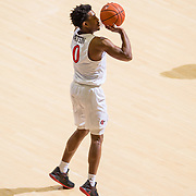 22 December 2018: San Diego State Aztecs guard Devin Watson (0) makes a deep three in the first half. The Aztecs beat the Cougars 90-81 Satruday afternoon at Viejas Arena.