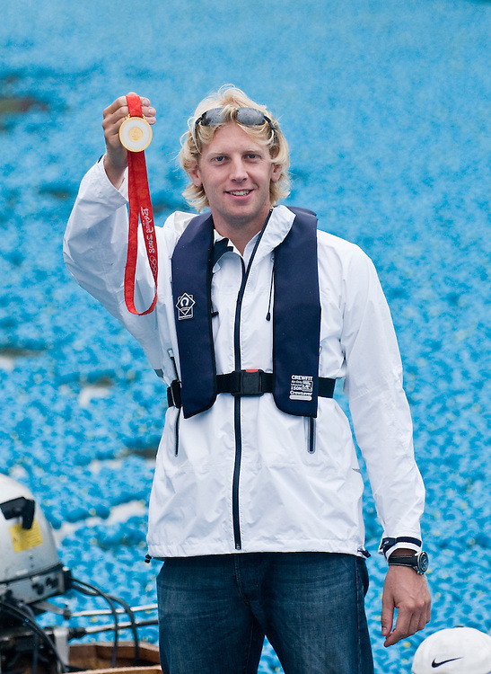 Hampton Court England Aug 31st  Olympic Gold Medallist Andy Hodge attends  The Great British Duck Race a fundraisng event  on the river Thames where 250,000 blue plastic ducks have been sent down the river  in an attempt to beat the previous world record
