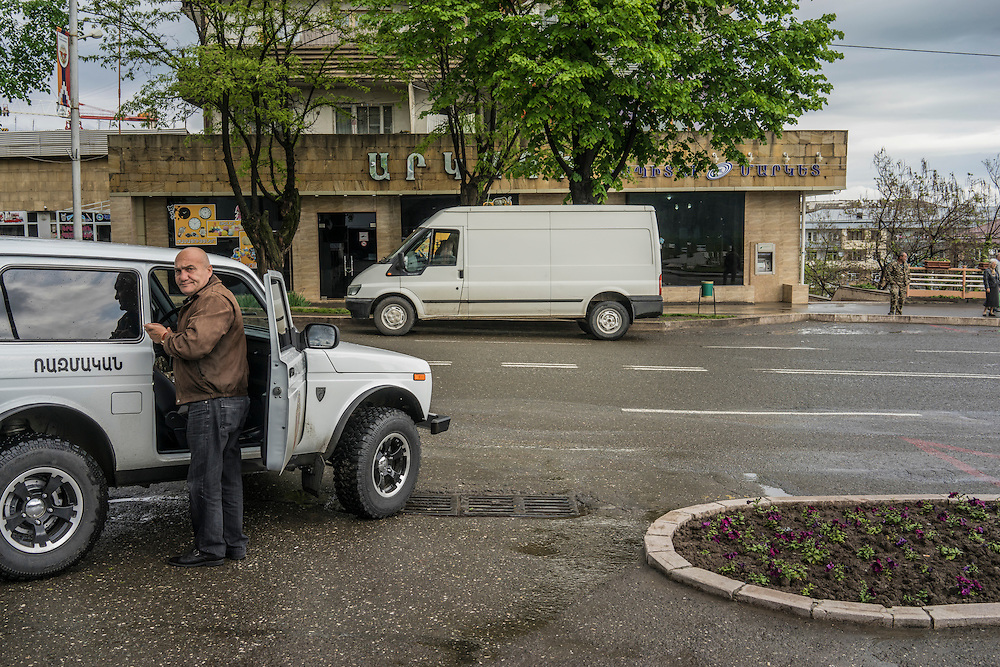 A military official before a trip with foreign journalists to the front lines on Sunday, May 8, 2016 in Stepanakert, Nagorno-Karabakh.
